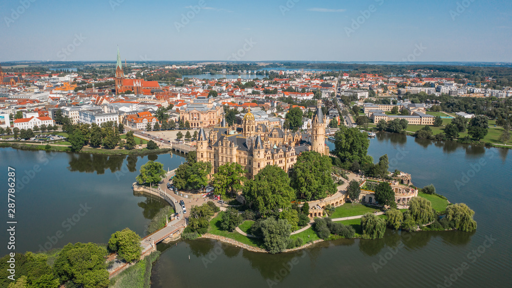 Fototapety, obrazy: Aerial view of Schwerin Castle