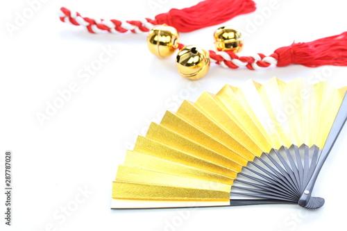 Cuadros en Lienzo 金色の扇と紅白房と鈴
