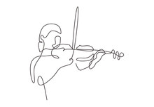 Violinist Minimalism Drawing Continuous Line One Hand Drawn Vector. Girl Playing Music Classical Instrument.