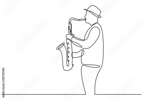 Fényképezés continuous one line drawing of saxophone player