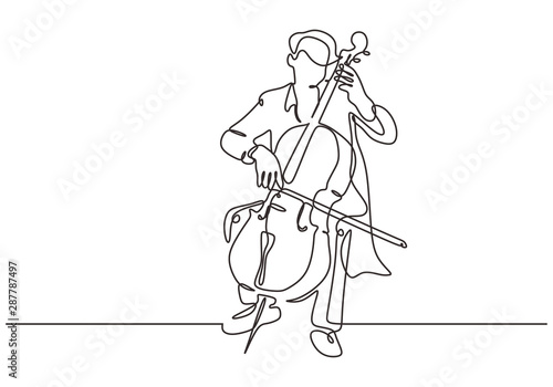 Continuous one line cello music instrument Fototapet