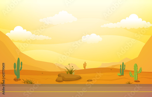 Photo  Beautiful Western Desert Landscape with Sky Rock Cliff Mountain Vector Illustrat