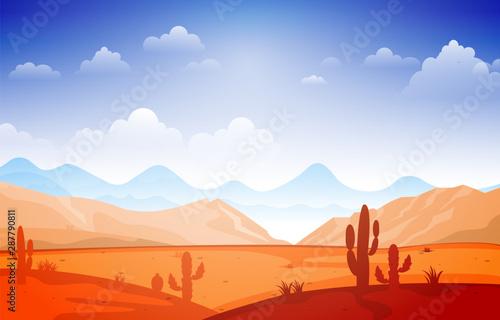 Fotografie, Obraz  Beautiful Western Desert Landscape with Sky Rock Cliff Mountain Vector Illustrat