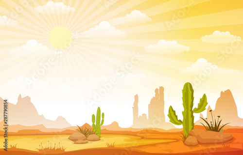 Fototapeta Beautiful Western Desert Landscape with Sky Rock Cliff Mountain Vector Illustration obraz