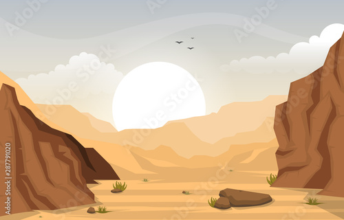 Beautiful Western Desert Landscape with Sky Rock Cliff Mountain Vector Illustrat Canvas Print