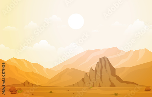Canvas-taulu Beautiful Western Desert Landscape with Sky Rock Cliff Mountain Vector Illustrat