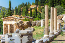 Ancient City Of Delphi With Ruins Of The Temple Of Apollo, The Omfalos (center) Of The Earth, Theater, Arena And Other Buildings, Greece