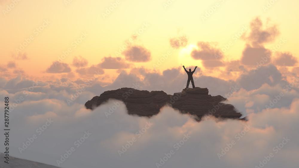 Fototapeta Man on a mountain peak