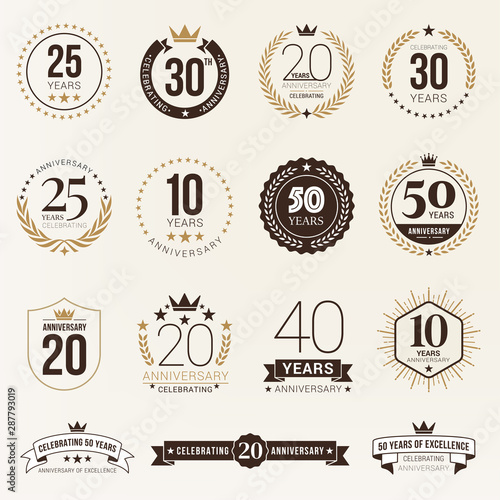 Fotografiet Multiple years anniversary celebration logotype