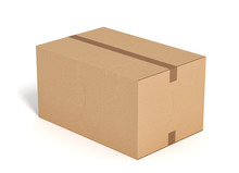 Closed Cardboard Box On White Backgroaund 3d Rendering