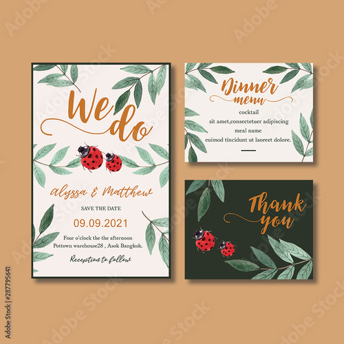 Fototapety, obrazy: Wedding Invitation watercolour design with contrast foliage theme. Fun and cute design