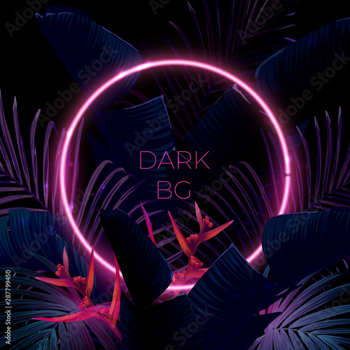 Dark blue and violet tropical party design with palm leaves and neon light. Summer night vector illustration.