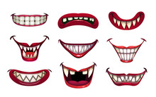 Creepy Clown Mouths Set. Scary...