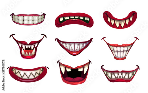 Creepy clown mouths set. Scary smile with jaws and red lips. Poster Mural XXL