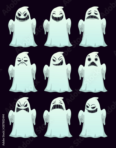 Valokuvatapetti Cartoon spooky ghosts with different emotions