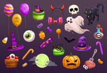 Halloween Items Set. Spooky Elements For Typography, Game Or Web Design.