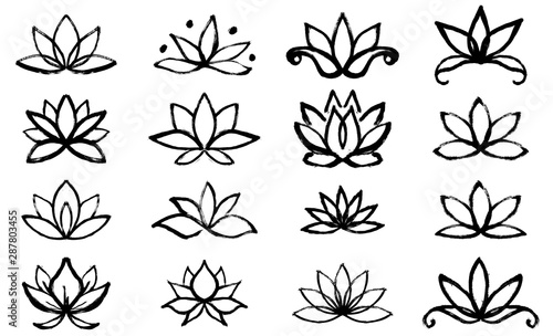 Set of lotus flower icons. Spa sign. Yoga design Poster Mural XXL