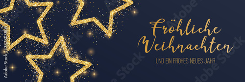 Cuadros en Lienzo Weihnachtsbanner gold mit Sterne