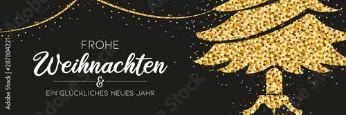 Obraz Weihnachtsbanner - Glitzer Weihnachtsbaum und Girlande mit Typographie - fototapety do salonu