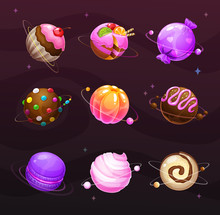 Beautiful Sweet Round Planets. Candy World Elements.