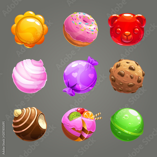 Candy balls set. Round sweet assets for game design. Wallpaper Mural