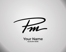 P M PM Initial Logo Signature ...