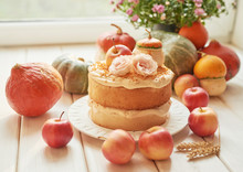 Naked Cake With Apples. Thanksgiving Day Table. Happy Halloween Pumpkins, Apples And Flowers. Bright Autumn Background. Colorful Autumn Card. Autumn Flower Arrangement. Autumn Bouquet
