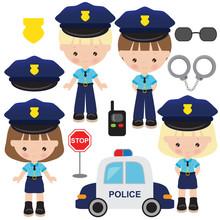Police Officer Vector Cartoon Illustration