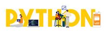 Python Programming Language Word Of Software Developer. Computer Script Team Working. Vector Illustration