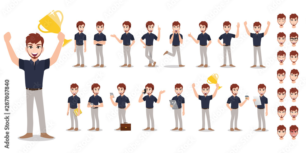 Fototapeta Businessman cartoon character set. Handsome business man working in office and presentation in various action . Vector illustration