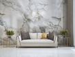 Leinwanddruck Bild - Modern luxury living roon interor design and marble wall background / 3D rendering