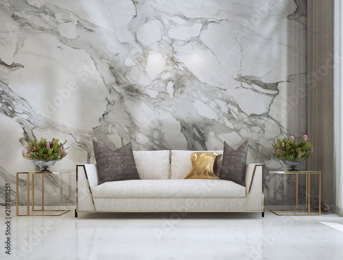 Obraz Modern luxury living roon interor design and marble wall background / 3D rendering - fototapety do salonu