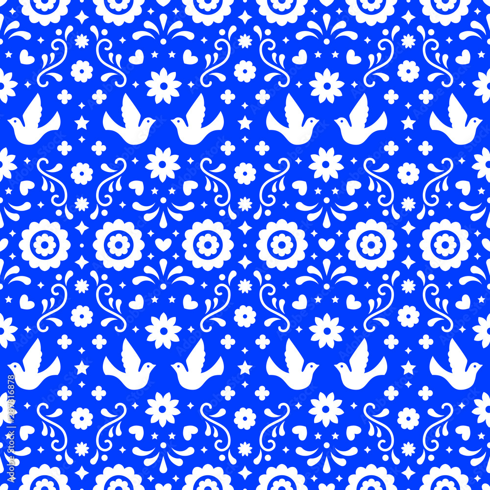 Mexican folk art seamless pattern with flowers, leaves and birds on blue background. Traditional design for fiesta party. Floral ornate elements from Mexico. Mexican folklore ornament.