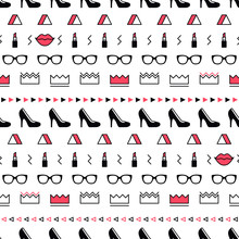 Fashion Accessories Pattern With Black High Heel Shoes, Lips, Lipstick, Sunglasses And Geometric Shapes In Memphis Style. Minimal Design. Beauty Background For Fashionable Girls In 80s. Line Art.