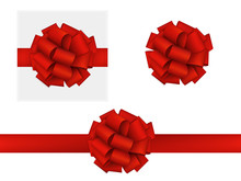 Vector Realistic Red Bow Made Of Ribbon. Gift, Top View. Isolated On White. EPS 10