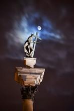 King Sigismund III Vasa Statue At Full Moon Night On Top Of Corinthian Column, Warsaw, Poland