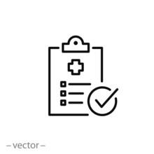 Diagnosis Report Icon, Medical File, Thin Line Web Symbol On White Background - Editable Stroke Vector Illustration Eps10