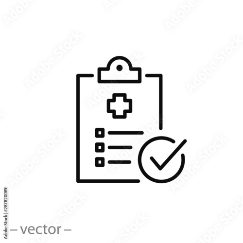 Cuadros en Lienzo diagnosis report icon, medical file, thin line web symbol on white background -