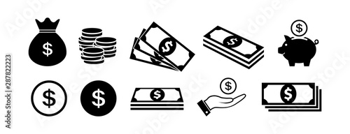 Fototapeta Money icon set in flat style. Money bag, coins and dollar symbols. Piggy bank and money in hand icons isolated on white. Paper money icons in black Vector illustration for graphic design, Web, UI, app obraz