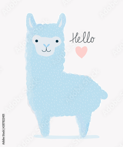 Plissee mit Motiv - Hello Love. Sweet Nursery Vector Art with Cute Hand Drawn Blue Llama and Pink Heart. Childish Style Illustration Ideal for Card, Wall Art, Invitation, Poster, Baby Room Decoration. (von Magdalena)