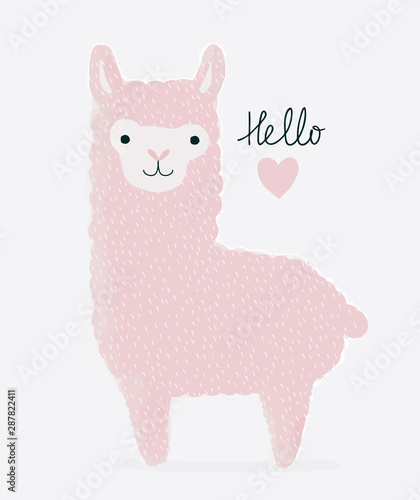 Plissee mit Motiv - Hello Love. Sweet Nursery Vector Art with Cute Hand Drawn Pink Llama and Heart. Childish Style Illustration Ideal for Card, Wall Art, Invitation, Poster, Baby Room Decoration. (von Magdalena)