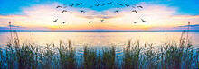 Paisaje De Una Amanecer En El Mar En Calma