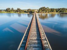 View Of Railway Track On Bridg...