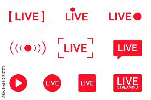 Fotografering Set of live streaming icons