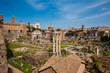 View of the ancient ruins of the Roman Forum in Rome