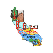 Vintage California Map Badge W...
