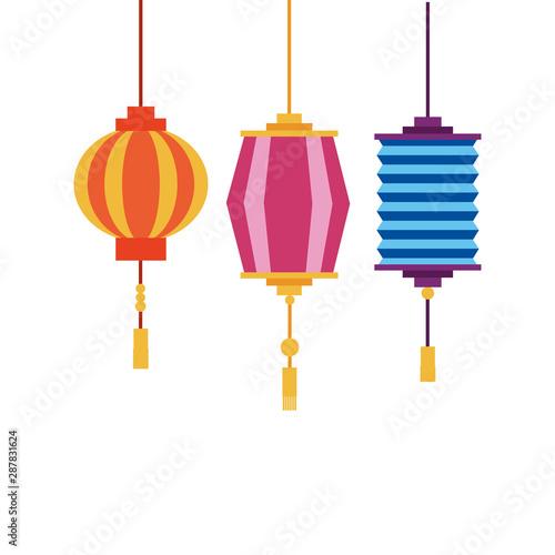 China lanterns vector design Wallpaper Mural