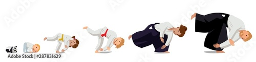Family practicing Aikido Wallpaper Mural