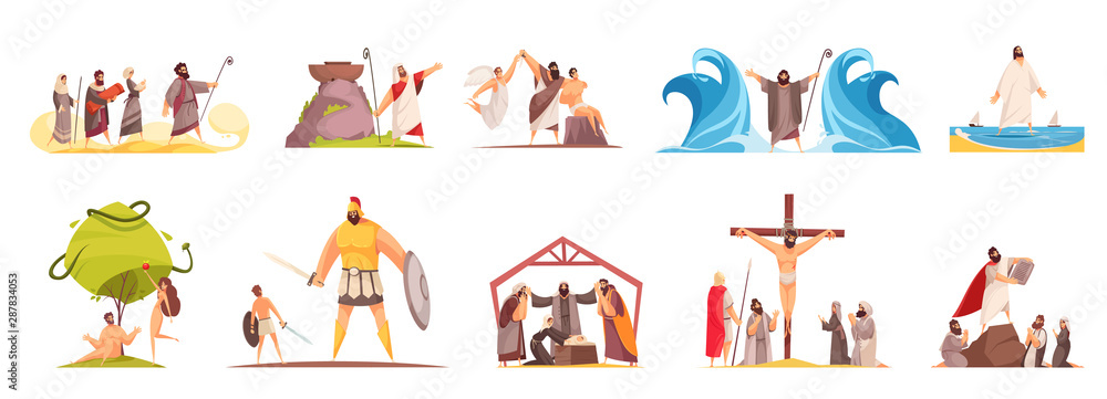 Fototapety, obrazy: Bible Narratives Characters Set