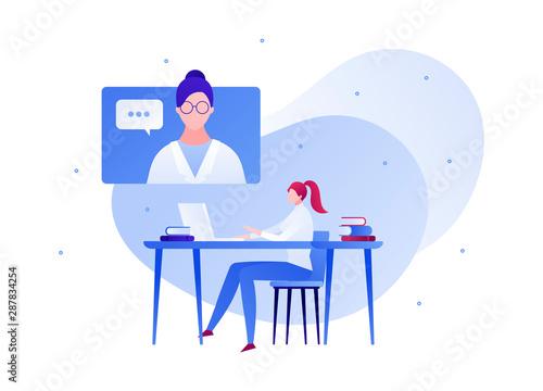 Fotografija Vector flat doctor patient online conversation illustration